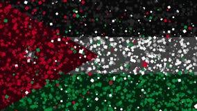 De feest geanimeerde achtergrond van vlag van Jordanië verschijnt van vuurwerk royalty-vrije illustratie