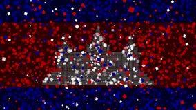 De feest geanimeerde achtergrond van vlag van Kambodja verschijnt van vuurwerk royalty-vrije illustratie