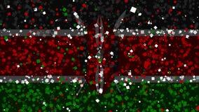 De feest geanimeerde achtergrond van vlag van Kenia verschijnt van vuurwerk stock illustratie
