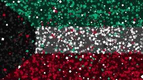 De feest geanimeerde achtergrond van vlag van Koeweit verschijnt van vuurwerk stock illustratie
