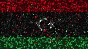 De feest geanimeerde achtergrond van vlag van Libië verschijnt van vuurwerk stock illustratie