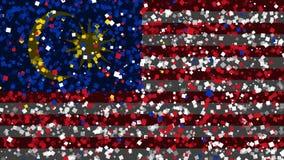 De feest geanimeerde achtergrond van vlag van Maleisië verschijnt van vuurwerk vector illustratie