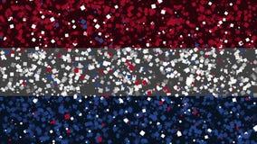 De feest geanimeerde achtergrond van vlag van Nederland verschijnt van vuurwerk royalty-vrije illustratie