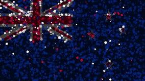 De feest geanimeerde achtergrond van vlag van Nieuw Zeeland verschijnt van vuurwerk stock illustratie