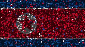 De feest geanimeerde achtergrond van vlag van Noord-Korea verschijnt van vuurwerk stock illustratie