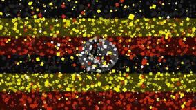 De feest geanimeerde achtergrond van vlag van Oeganda verschijnt van vuurwerk vector illustratie