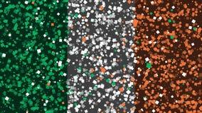 De feest geanimeerde achtergrond van vlag van Republiek Ierland verschijnt van vuurwerk royalty-vrije illustratie