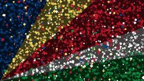 De feest geanimeerde achtergrond van vlag van Seychellen verschijnt van vuurwerk stock illustratie