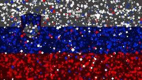 De feest geanimeerde achtergrond van vlag van Slovenië verschijnt van vuurwerk royalty-vrije illustratie