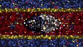 De feest geanimeerde achtergrond van vlag van Swasiland verschijnt van vuurwerk royalty-vrije illustratie