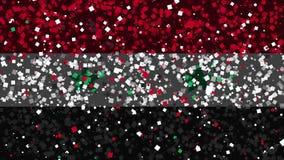 De feest geanimeerde achtergrond van vlag van Syrië verschijnt van vuurwerk stock illustratie