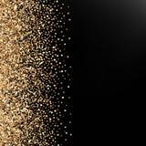 De feestelijke achtergrond met het vallen schittert confettien, gouden stof op zwarte royalty-vrije illustratie