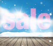 De feestelijke achtergrond van het de verkooplandschap van de sneeuwwinter Stock Afbeeldingen
