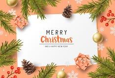 De feestelijke Achtergrond van de Kerstmissamenstelling royalty-vrije illustratie