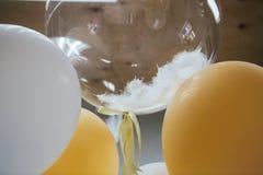 De feestelijke ballons sluiten omhoog met witte struisvogelveer stock afbeelding