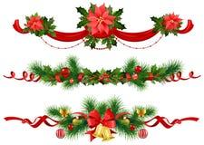 De feestelijke decoratie van Kerstmis met nette boom Stock Afbeeldingen