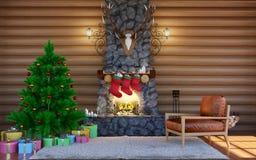 De feestelijke decoratie van Kerstmis Zaal binnenland in de blokhuisbouw met steenopen haard Het Binnenland van de Kerstmiswoonka Royalty-vrije Stock Foto