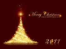 De feestelijke fonkelende achtergrond van de Kerstboom Stock Foto's