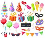 De feestelijke geplaatste pictogrammen van Carnaval van de vieringspartij Royalty-vrije Stock Foto