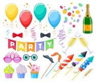 De feestelijke geplaatste pictogrammen van Carnaval van de vieringspartij Stock Afbeelding