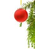 De feestelijke grens van Kerstmis met rode snuisterij Stock Foto's