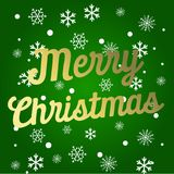 De feestelijke kaart met fonkeling kalligrafische het van letters voorzien Vrolijke Kerstmis op groene achtergrond met Kerstmisbo vector illustratie