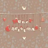 De feestelijke kaart van de Kerstmisgroet met naadloos patroon in wijnoogst Stock Afbeelding