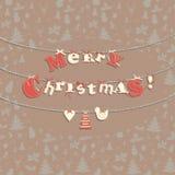 De feestelijke kaart van de Kerstmisgroet met naadloos patroon in wijnoogst Stock Afbeeldingen