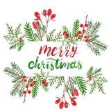 De feestelijke Kerstmis en van de Nieuwjarenwinter kroon op deur met rode poinsettia bloeit, hulstbessen en denneappels Watercol stock illustratie