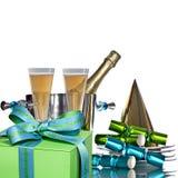 De feestelijke Partij Champagne van de Vakantie in Zilveren Emmer Stock Fotografie