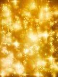 De feestelijke vectorachtergrond van golde bokeh lichten Stock Foto