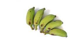 De fem bananerna en vit bakgrund Arkivbilder