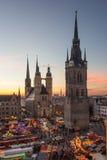 De fem tornen av Halle (Saale) Arkivbilder