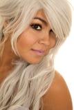 De femme de cheveux regard étroit gris  images libres de droits
