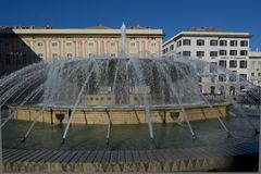 DE Ferrari Fountain in Genua stock afbeelding