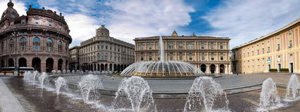 De Ferrari square with fountain Stock Image
