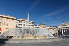 De Ferrari square in Genova, Italy. De Ferrari square with fountain in Genoa, Italy Stock Photos