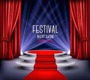 De festivalnacht toont affiche Toonzaalachtergrond stock illustratie