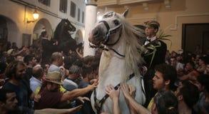 De festiviteit van heilige John in Minorca-eilandruiters Stock Foto's