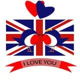14 de fevereiro bandeira de país do dia de são valentim ilustração stock
