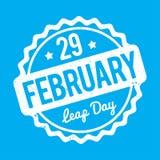 29 de fevereiro branco do carimbo de borracha do dia de pulo em um fundo azul Ilustração Royalty Free