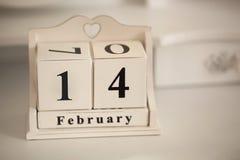 14 de fevereiro calendário do vintage Imagens de Stock