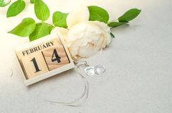 14 de fevereiro, calendário de madeira com o medalhão da forma do coração e flor Fotos de Stock Royalty Free