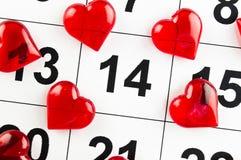 14 de fevereiro com um feriado vermelho do símbolo do coração Foto de Stock Royalty Free