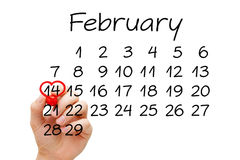 14 de fevereiro conceito do dia de Valentim Fotografia de Stock Royalty Free