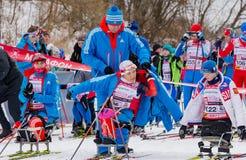 11 de fevereiro de 2017 maratona 2017 anual do esqui de Nikolov Perevoz Russialoppet da raça de esqui da propriedade da arte-Vere Fotografia de Stock Royalty Free