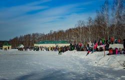 26 de fevereiro de 2017 o feriado de Maslenitsa em Borodino Fotos de Stock Royalty Free