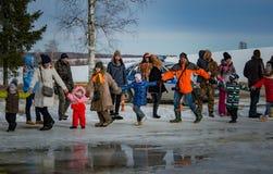 26 de fevereiro de 2017 o feriado de Maslenitsa em Borodino Fotografia de Stock