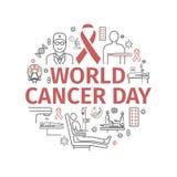4 de fevereiro, dia do câncer do mundo Bandeira de Infographics Linha ícones ajustados Sinais do vetor ilustração stock