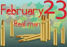 23 de fevereiro dia do defensor da pátria Um cartão extraordinário ilustração stock